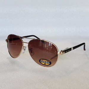 Fossil FW12 Aviator Women Sunglasses Gold Brown